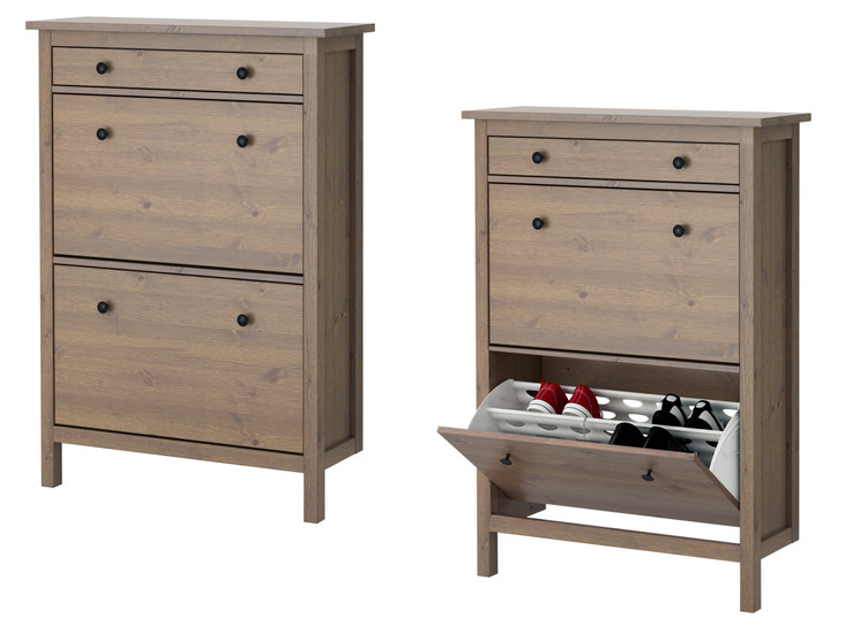 Hemnes Tv Unit Gray-Brown : ikea s hemnes shoe cabinet in gray brown features double rows in each