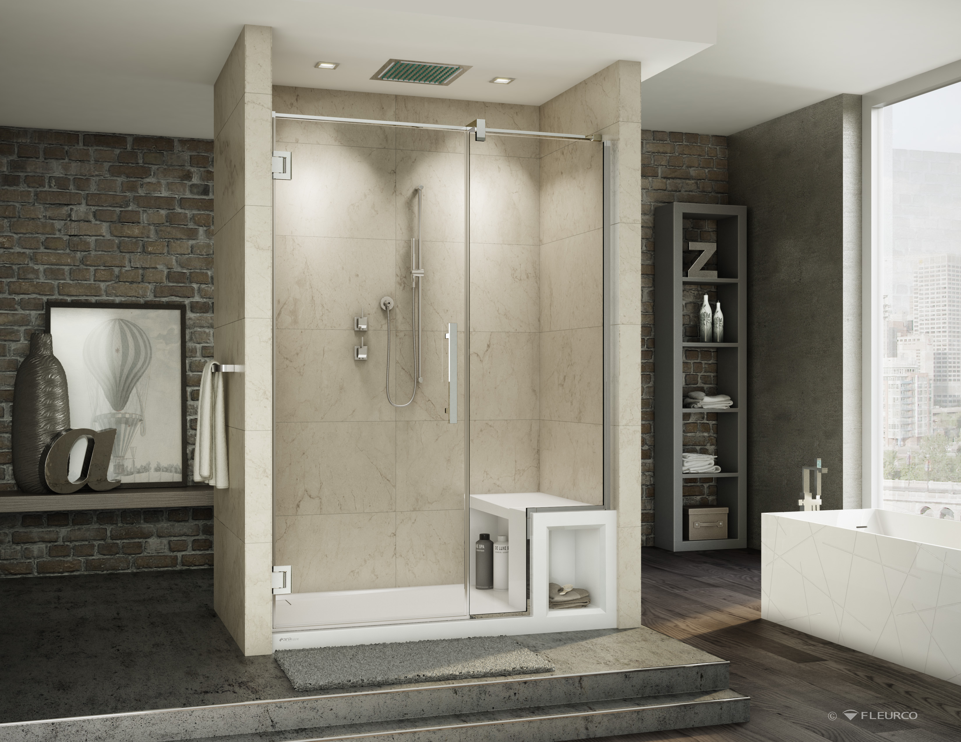 Modern Shower Seats : On the Bench: Great Bases from Fleurco  mecc interiors  design bites