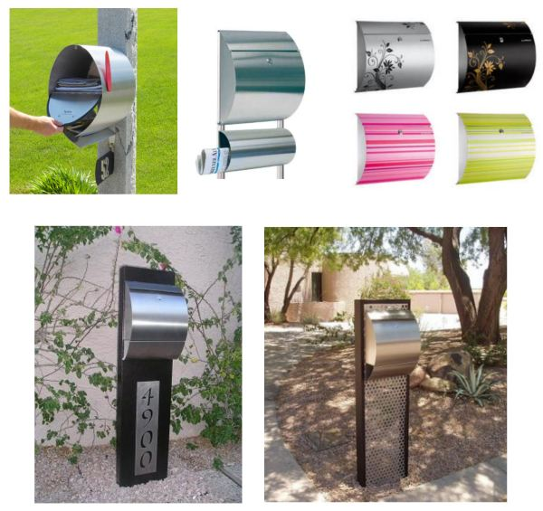 Who said a mailbox needs to be square? Clockwise from top left: