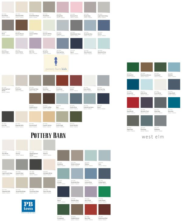 Sherwin-Williams Fall-Winter 2013 palettes for Pottery Barn, Pottery Barn Kids, PB Teen, and West Elm.