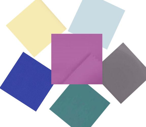 2014 colours of the year centre: Pantone Radiant Orchid clockwise from top left:
