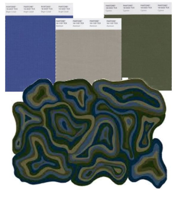 mecc interiors inc. | Pantone Aluminum, Cypress, and Bright Cobalt
